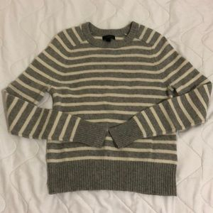 J Crew light grey stripe sweater [NWOT]